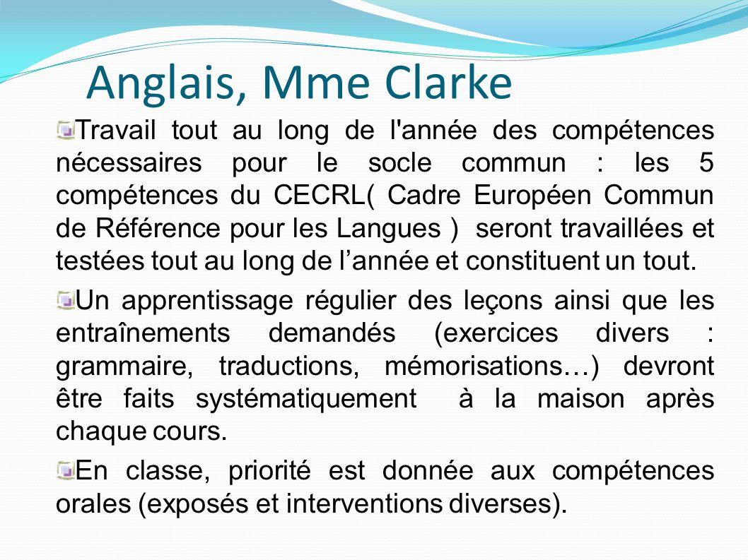 Anglais, Mme Clarke