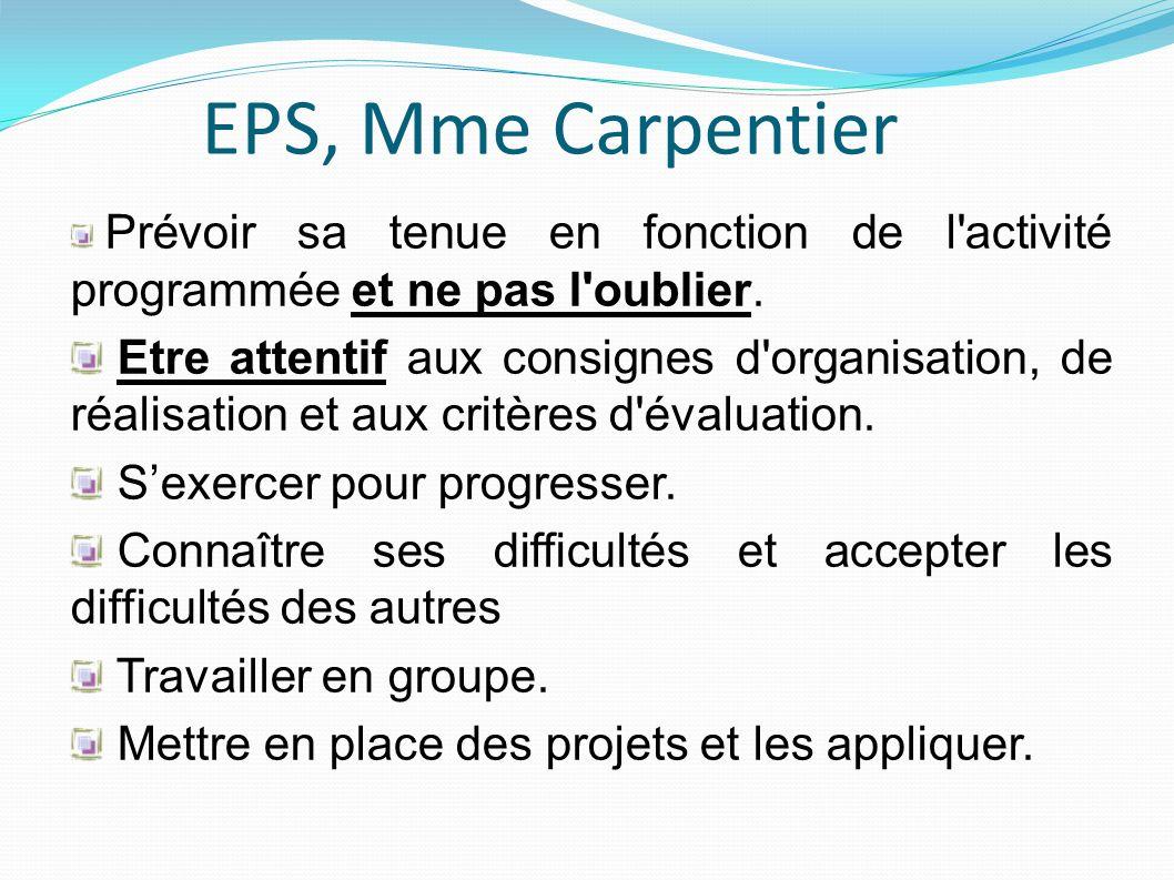 EPS, Mme Carpentier Prévoir sa tenue en fonction de l activité programmée et ne pas l oublier.