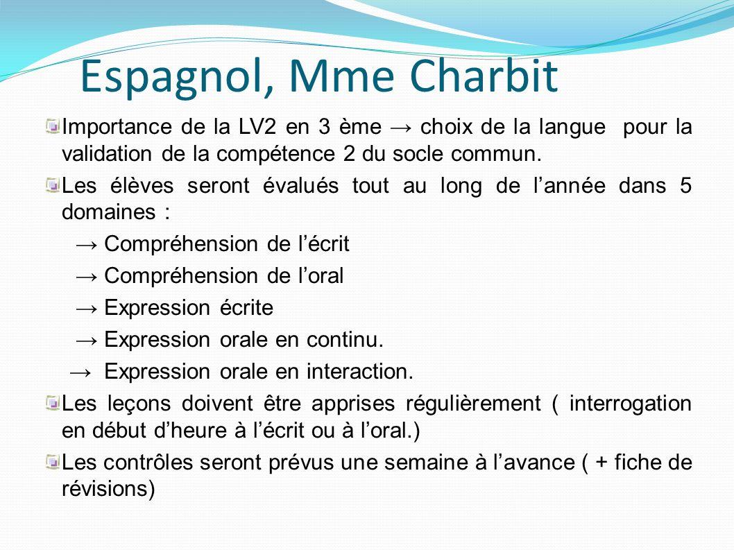 Espagnol, Mme Charbit Importance de la LV2 en 3 ème → choix de la langue pour la validation de la compétence 2 du socle commun.