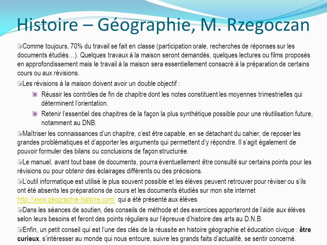 Histoire – Géographie, M. Rzegoczan