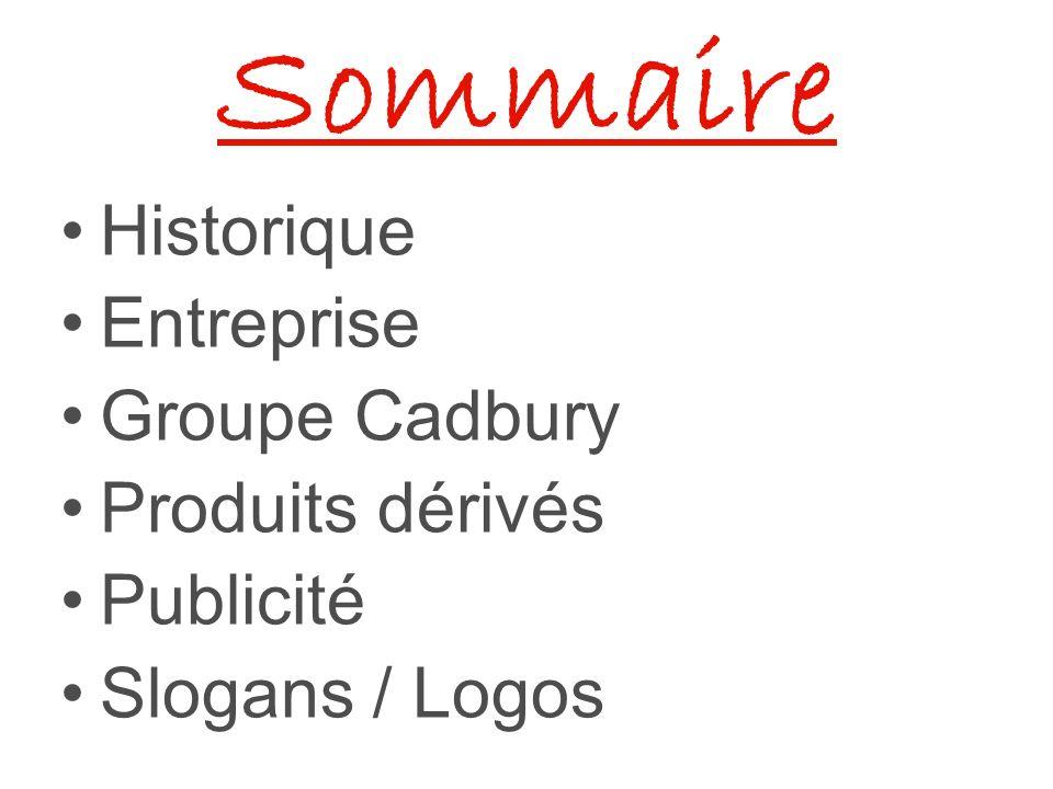 Sommaire Historique Entreprise Groupe Cadbury Produits dérivés