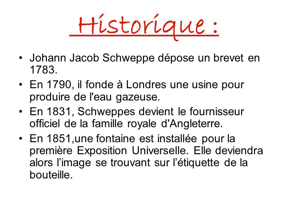 Historique : Johann Jacob Schweppe dépose un brevet en 1783.