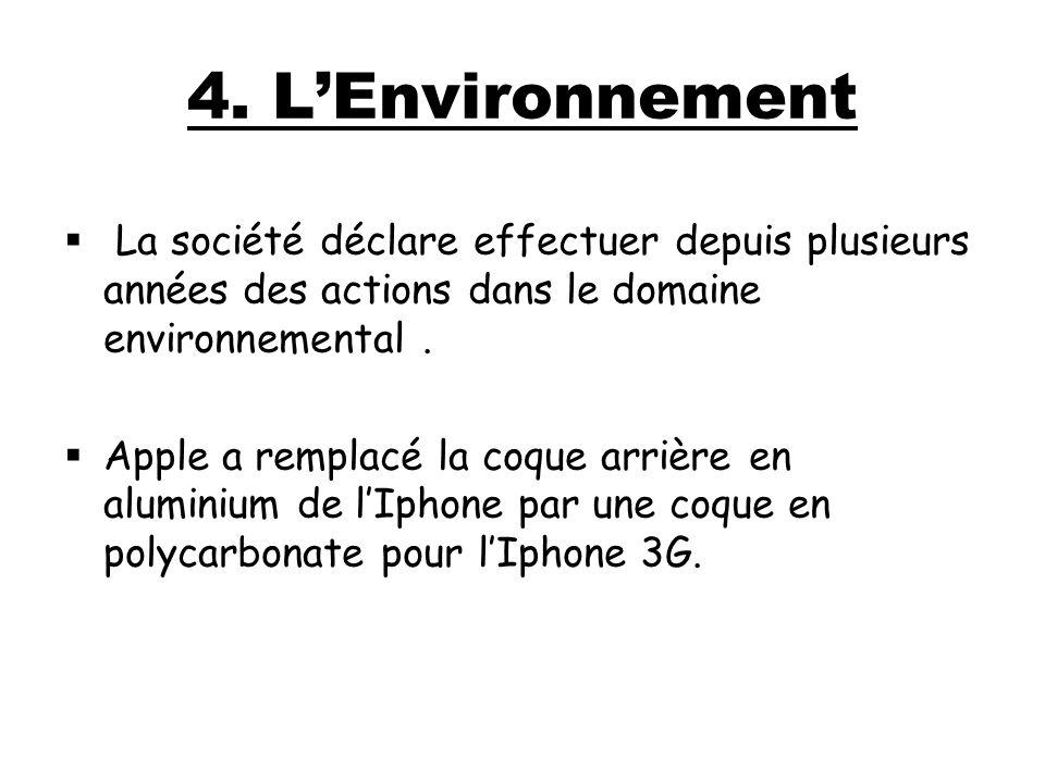 4. L'Environnement La société déclare effectuer depuis plusieurs années des actions dans le domaine environnemental .