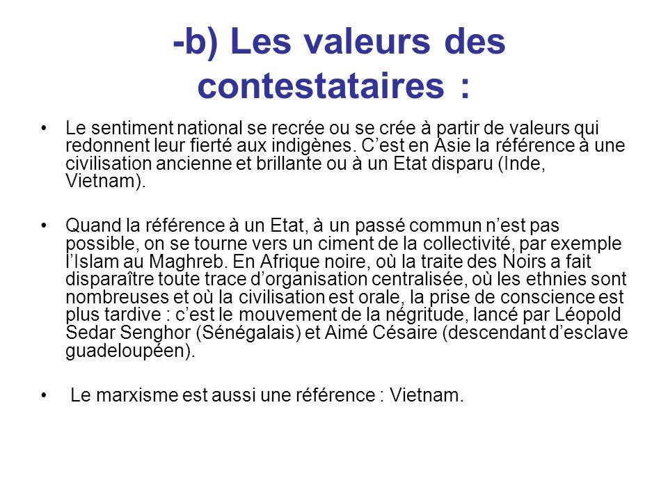-b) Les valeurs des contestataires :