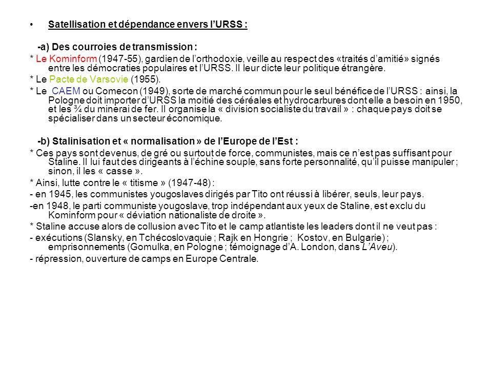 Satellisation et dépendance envers l'URSS :