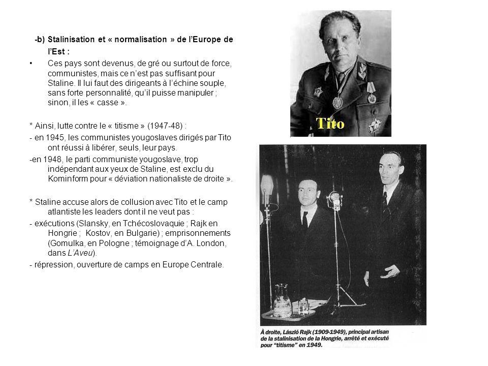 -b) Stalinisation et « normalisation » de l'Europe de l'Est :