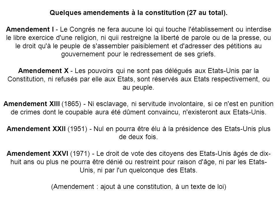 Quelques amendements à la constitution (27 au total).