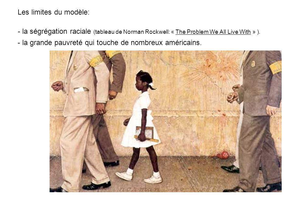 Les limites du modèle: - la ségrégation raciale (tableau de Norman Rockwell: « The Problem We All Live With » ).
