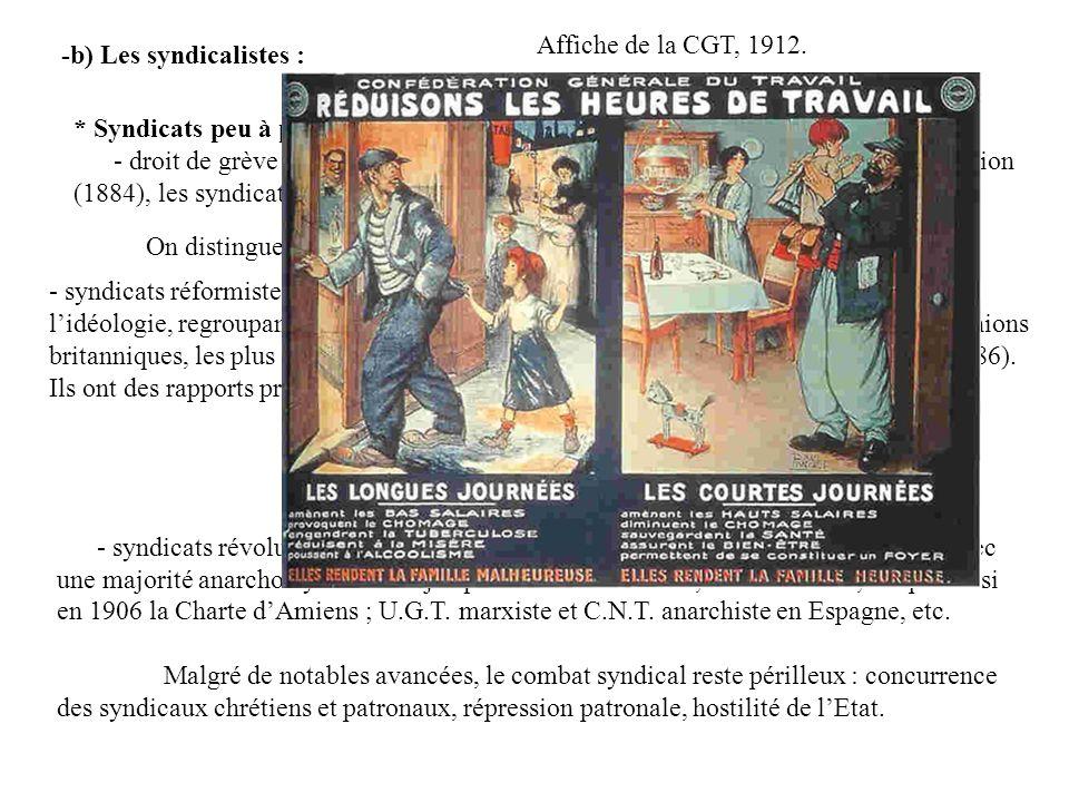 Affiche de la CGT, 1912. -b) Les syndicalistes : * Syndicats peu à peu légalisés :