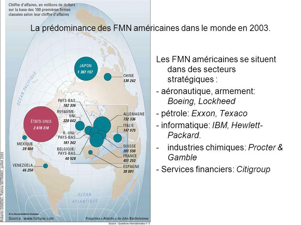 La prédominance des FMN américaines dans le monde en 2003.