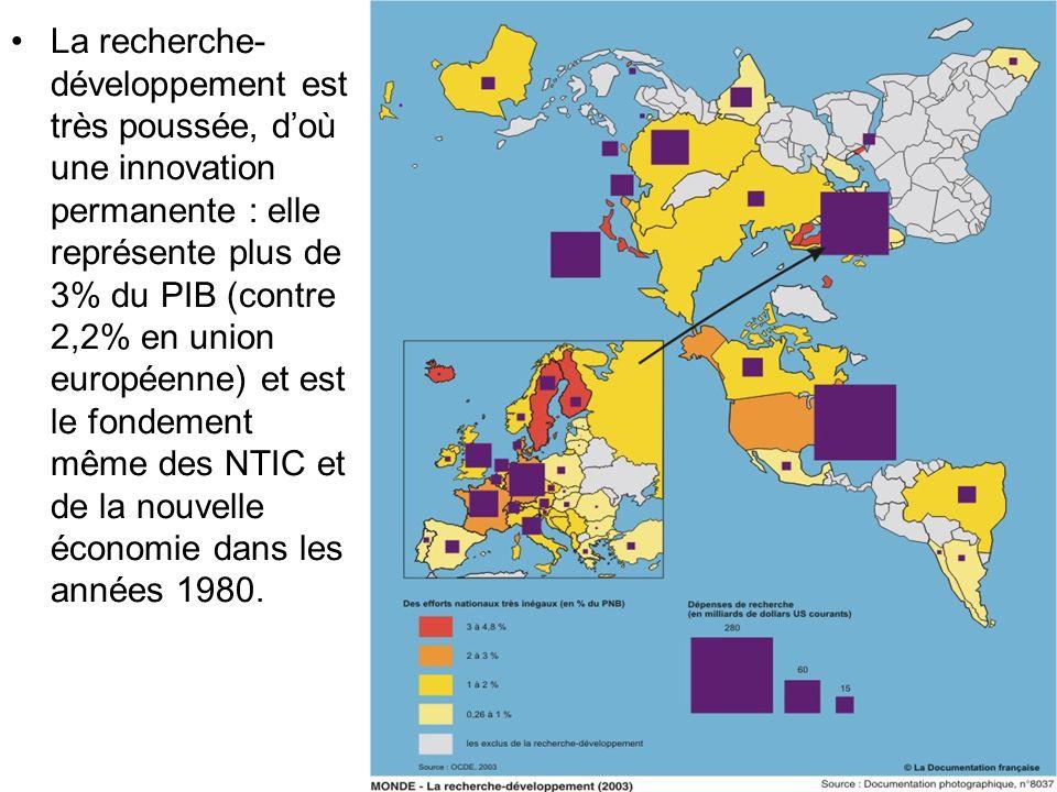 La recherche-développement est très poussée, d'où une innovation permanente : elle représente plus de 3% du PIB (contre 2,2% en union européenne) et est le fondement même des NTIC et de la nouvelle économie dans les années 1980.