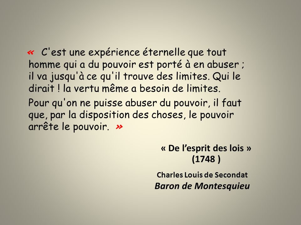 Charles Louis de Secondat Baron de Montesquieu