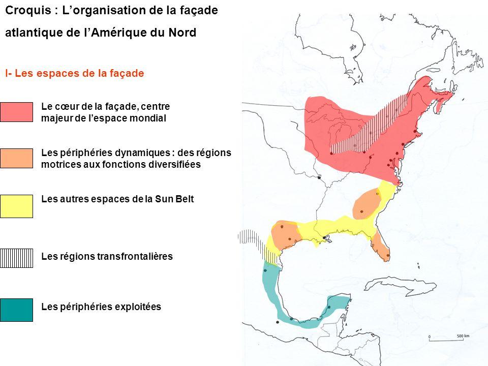 Croquis : L'organisation de la façade atlantique de l'Amérique du Nord