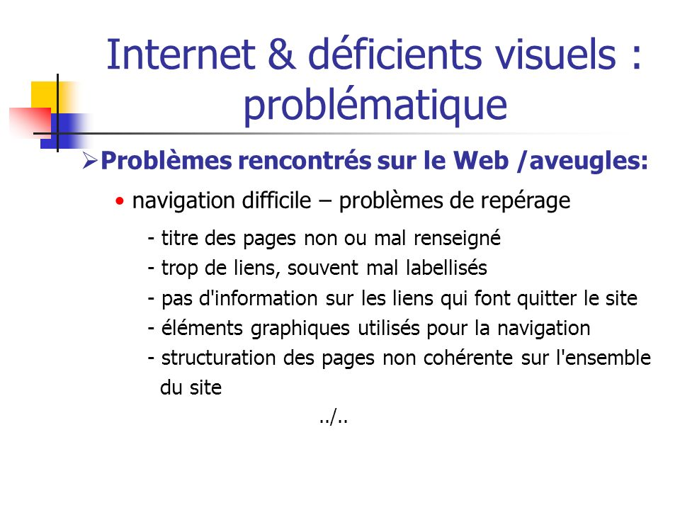 Internet & déficients visuels : problématique