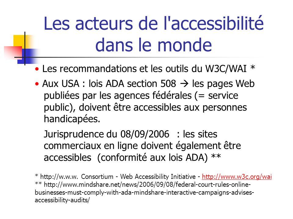 Les acteurs de l accessibilité dans le monde