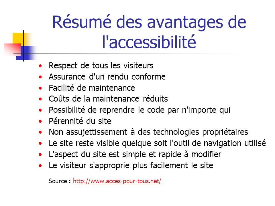 Résumé des avantages de l accessibilité