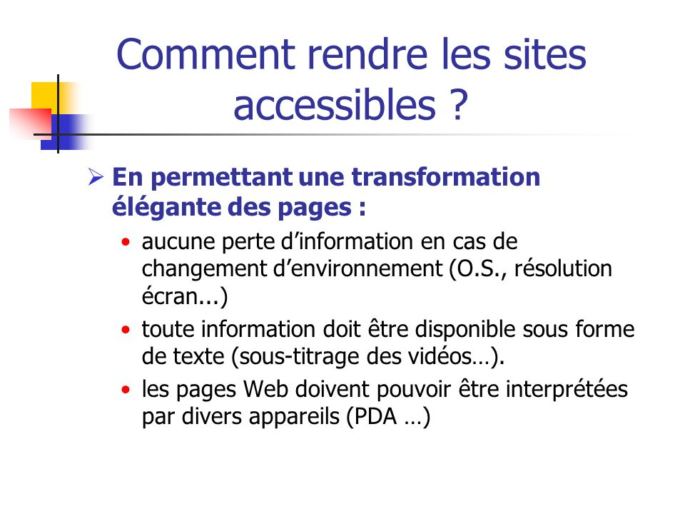 Comment rendre les sites accessibles