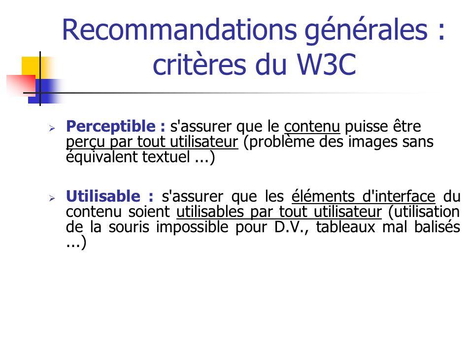 Recommandations générales : critères du W3C