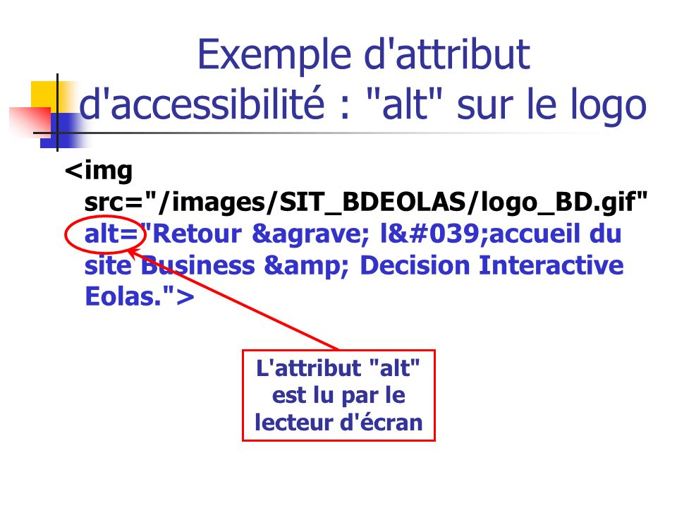 Exemple d attribut d accessibilité : alt sur le logo