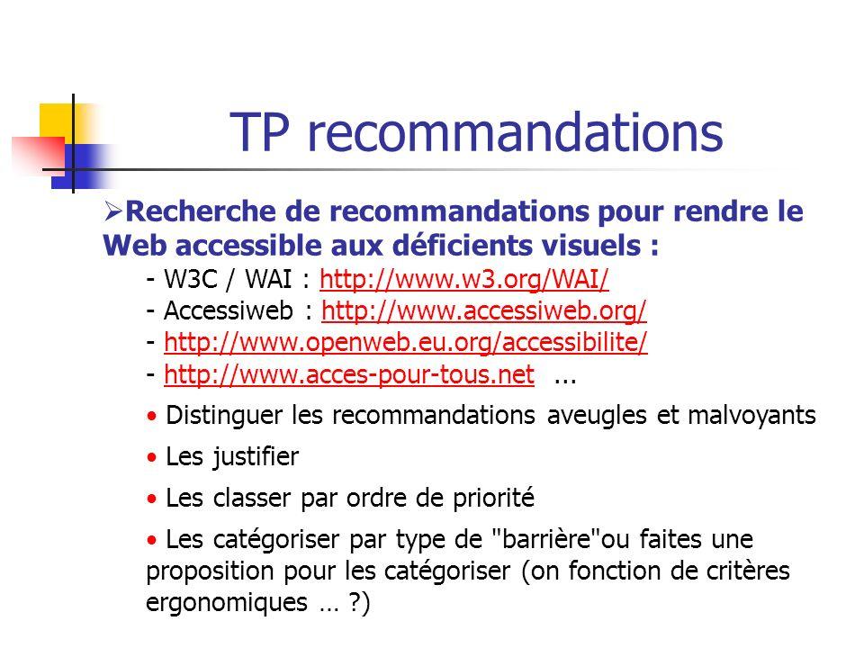 TP recommandations Recherche de recommandations pour rendre le Web accessible aux déficients visuels :