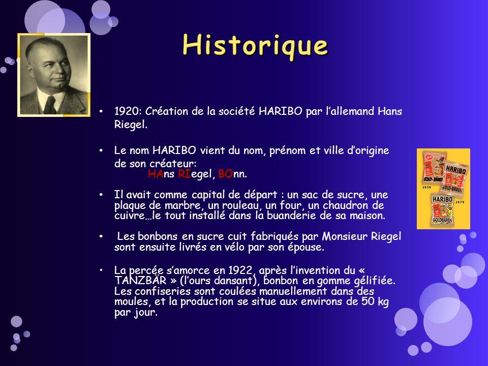 Historique1920: Création de la société HARIBO par l'allemand Hans Riegel. Le nom HARIBO vient du nom, prénom et ville d'origine de son créateur: