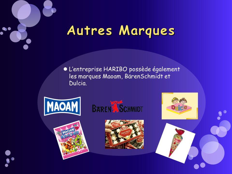 Autres Marques L'entreprise HARIBO possède également les marques Maoam, BärenSchmidt et Dulcia.