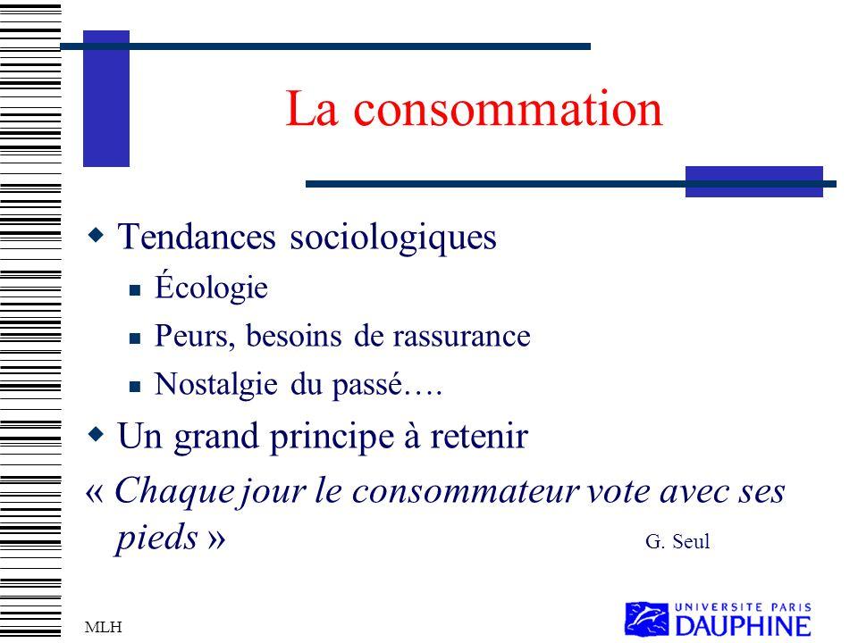 La consommation Tendances sociologiques Un grand principe à retenir