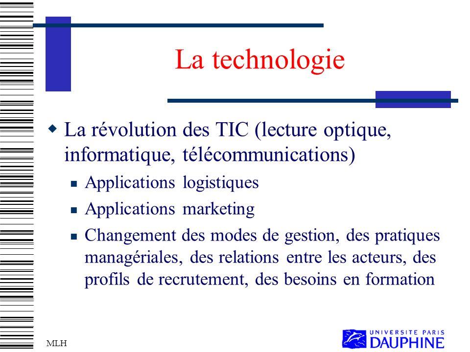 La technologie La révolution des TIC (lecture optique, informatique, télécommunications) Applications logistiques.