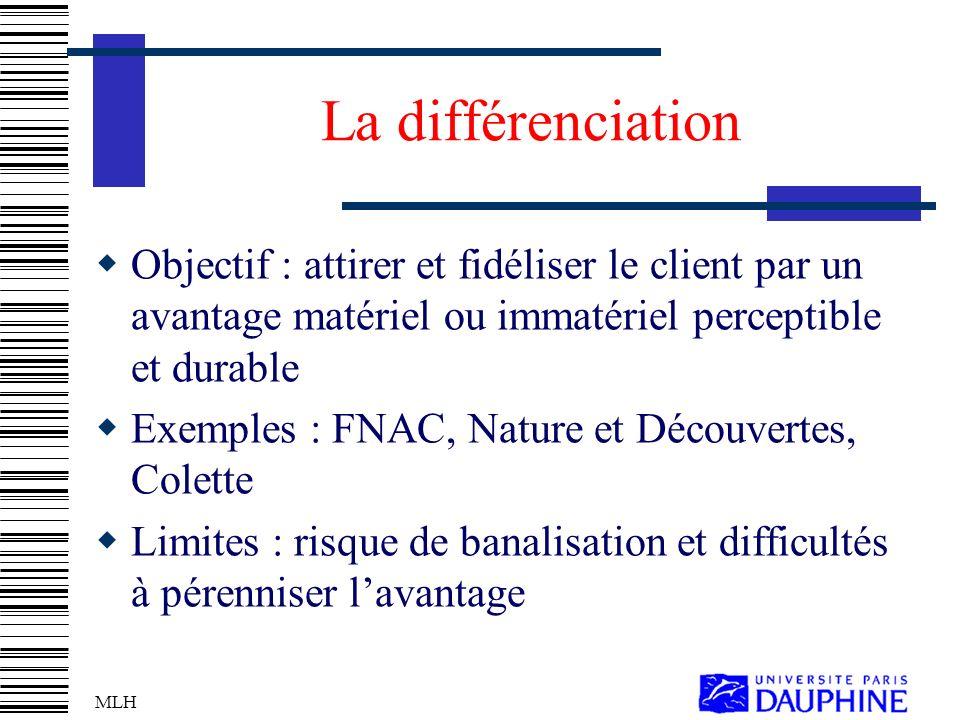 La différenciation Objectif : attirer et fidéliser le client par un avantage matériel ou immatériel perceptible et durable.