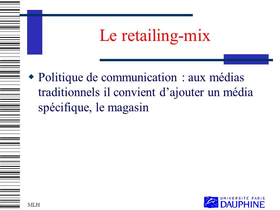 Le retailing-mix Politique de communication : aux médias traditionnels il convient d'ajouter un média spécifique, le magasin.