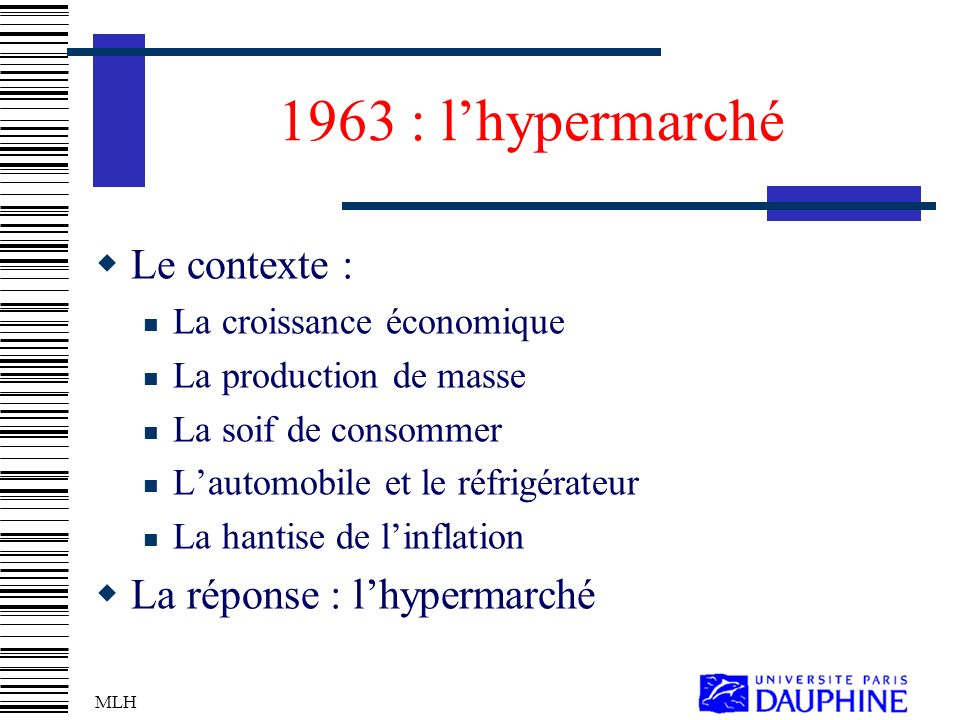 1963 : l'hypermarché Le contexte : La réponse : l'hypermarché
