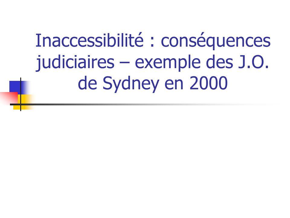 Inaccessibilité : conséquences judiciaires – exemple des J. O