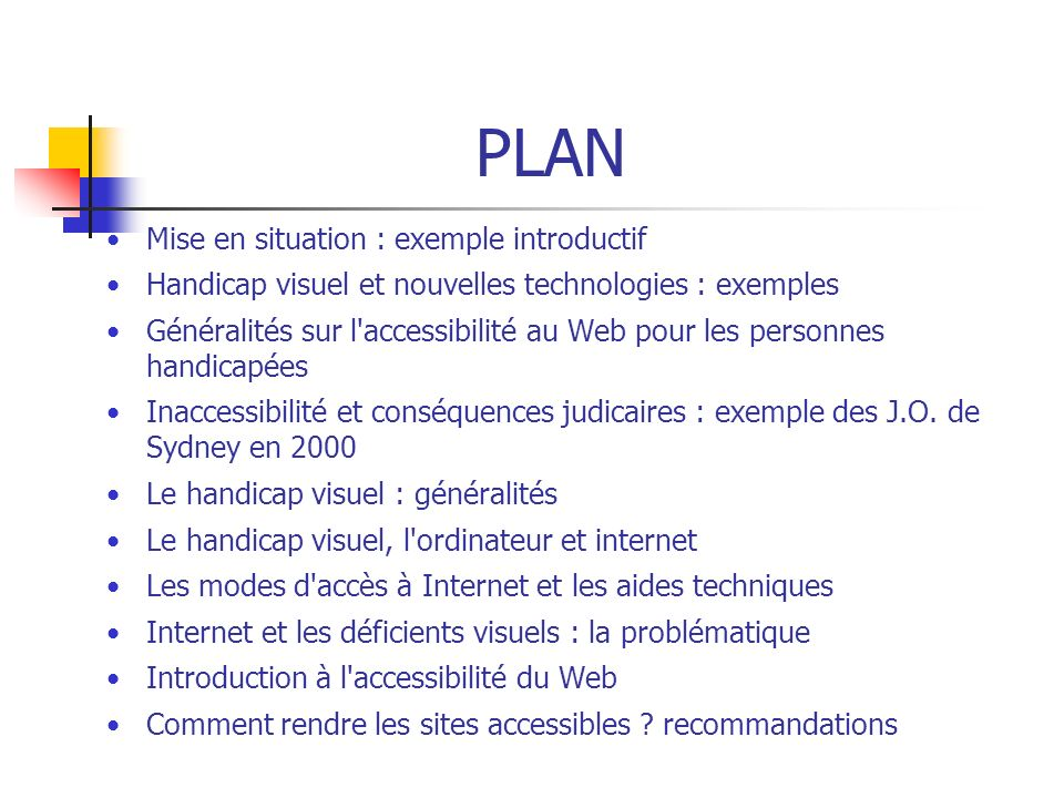 PLAN Mise en situation : exemple introductif