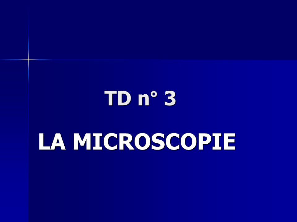 TD n° 3 LA MICROSCOPIE