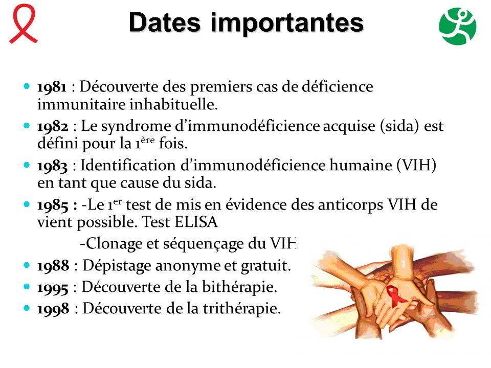 Dates importantes 1981 : Découverte des premiers cas de déficience immunitaire inhabituelle.