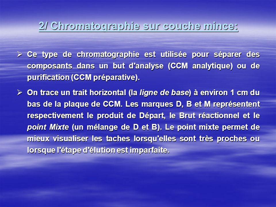 2/ Chromatographie sur couche mince: