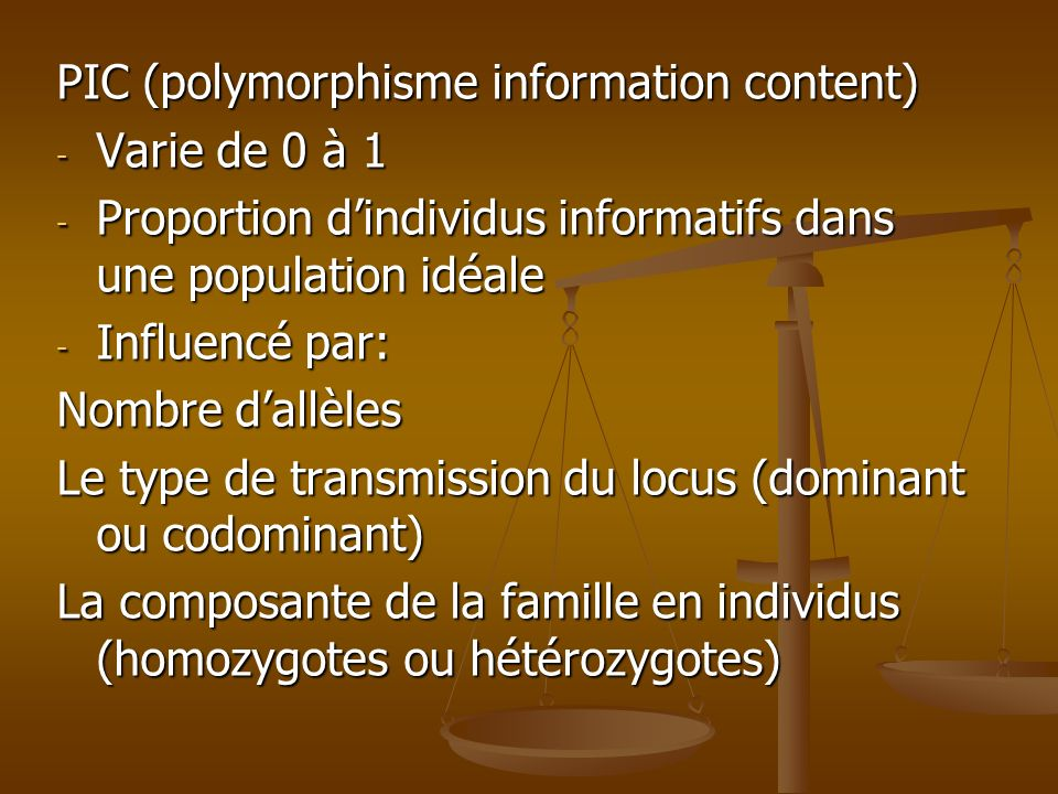 PIC (polymorphisme information content)