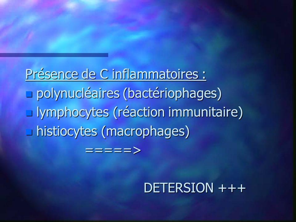Présence de C inflammatoires :
