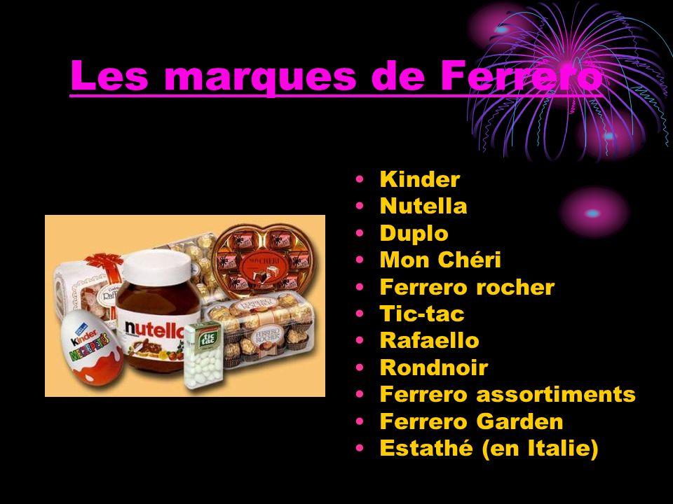 Les marques de Ferrero Kinder Nutella Duplo Mon Chéri Ferrero rocher