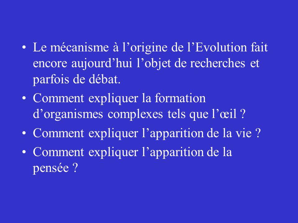 Le mécanisme à l'origine de l'Evolution fait encore aujourd'hui l'objet de recherches et parfois de débat.