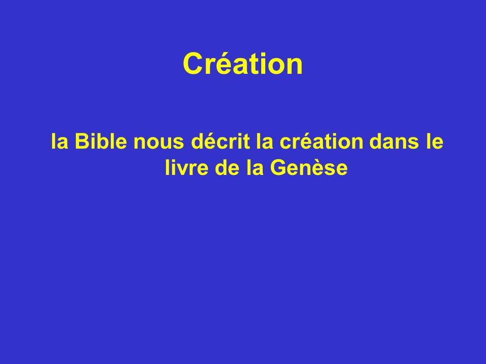 la Bible nous décrit la création dans le livre de la Genèse