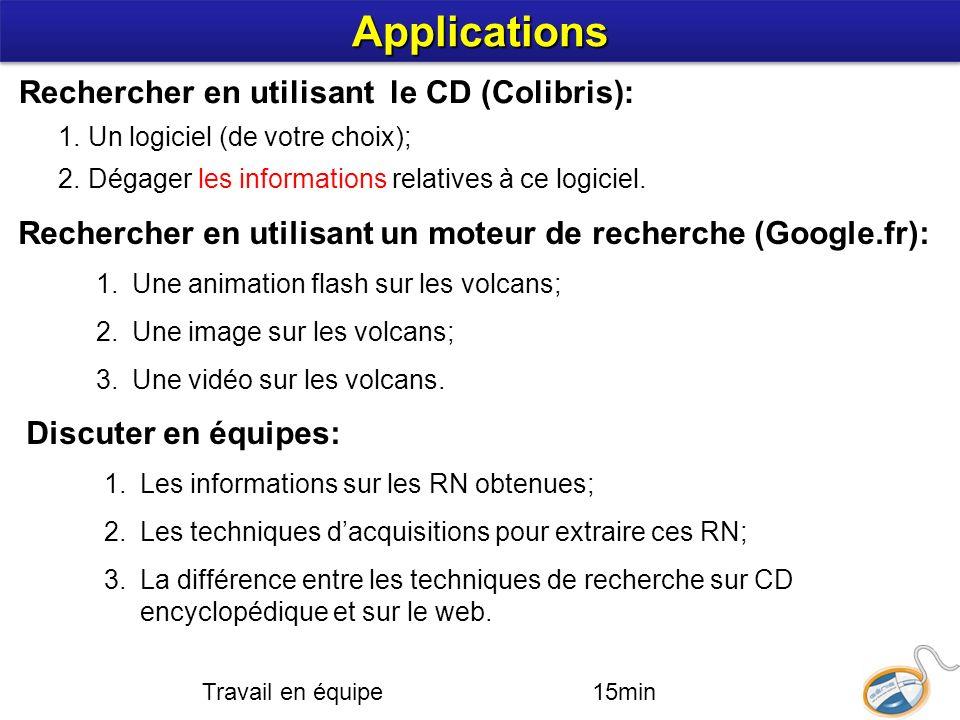 Applications Rechercher en utilisant le CD (Colibris):