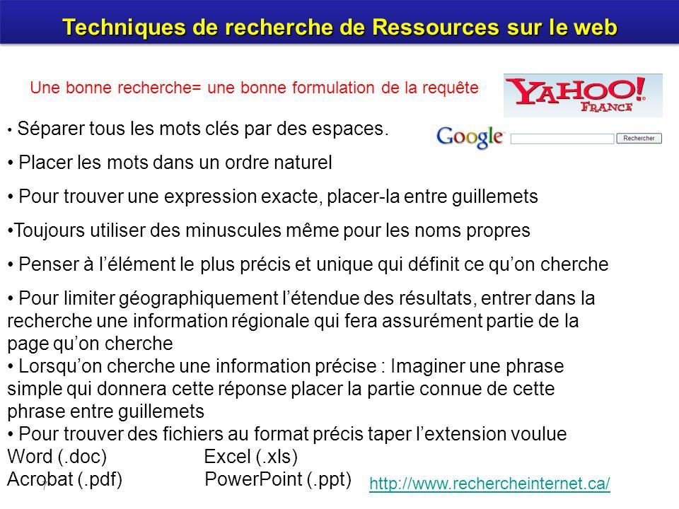 Techniques de recherche de Ressources sur le web