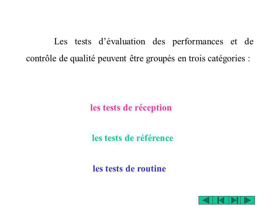 Les tests d'évaluation des performances et de contrôle de qualité peuvent être groupés en trois catégories :