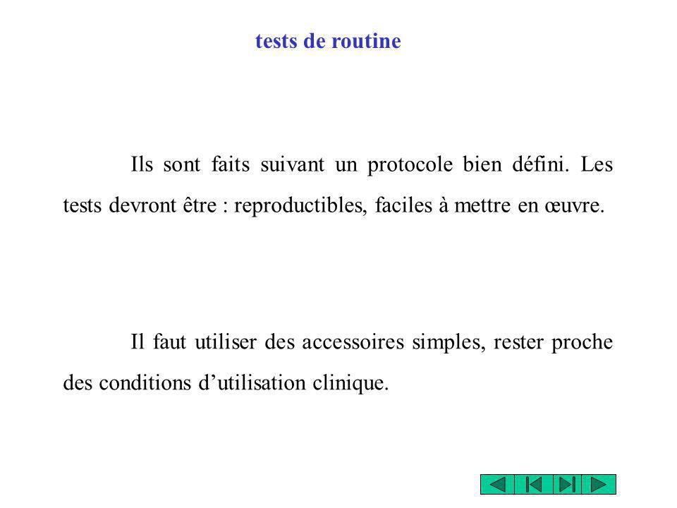 tests de routine Ils sont faits suivant un protocole bien défini. Les tests devront être : reproductibles, faciles à mettre en œuvre.