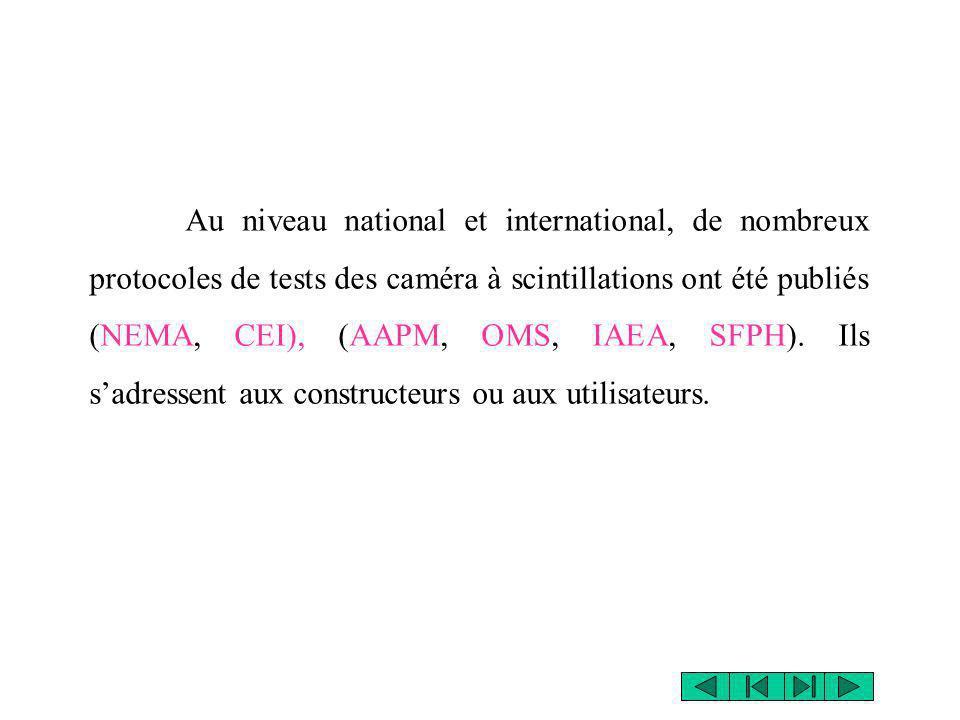 Au niveau national et international, de nombreux protocoles de tests des caméra à scintillations ont été publiés (NEMA, CEI), (AAPM, OMS, IAEA, SFPH).