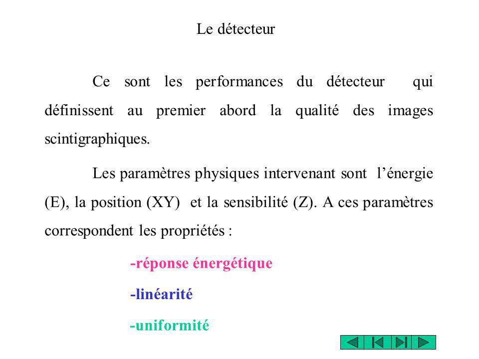 Le détecteur Ce sont les performances du détecteur qui définissent au premier abord la qualité des images scintigraphiques.