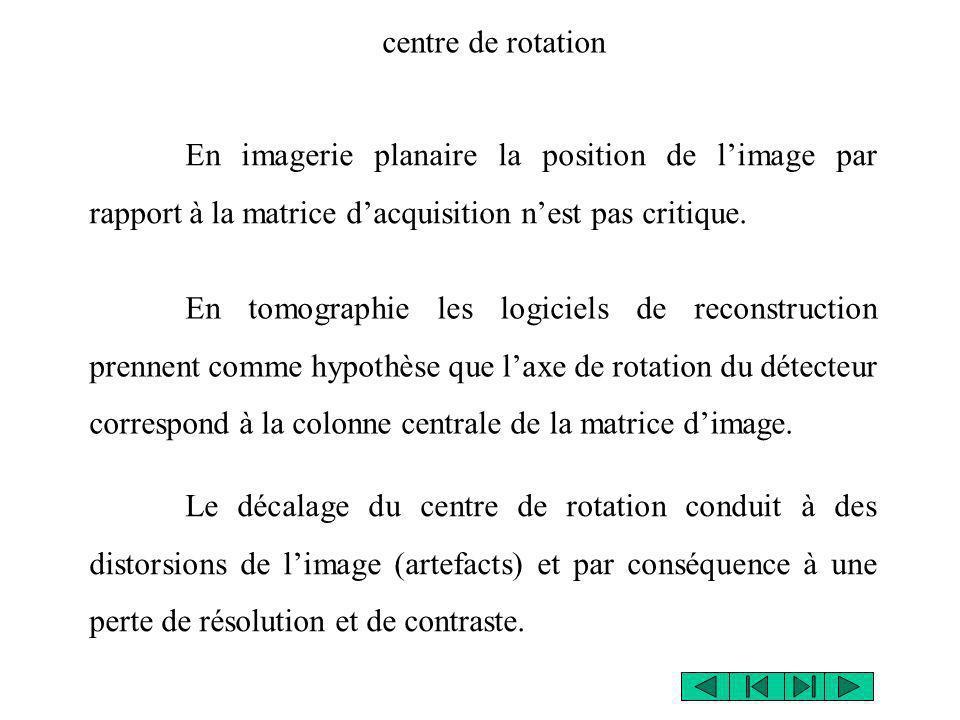centre de rotation En imagerie planaire la position de l'image par rapport à la matrice d'acquisition n'est pas critique.