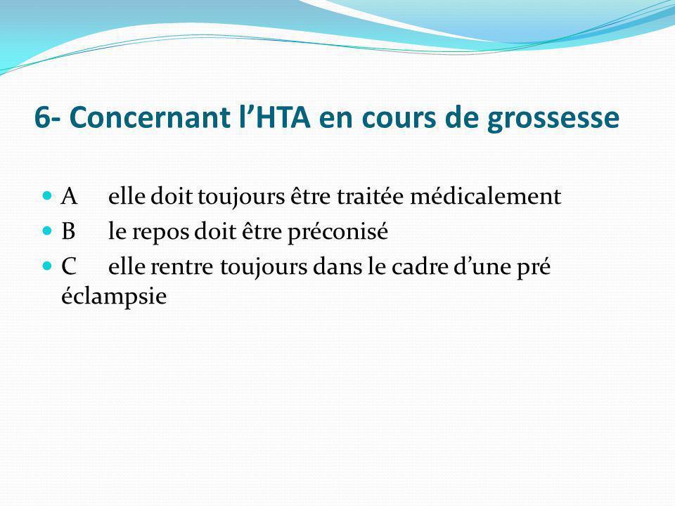 6- Concernant l'HTA en cours de grossesse