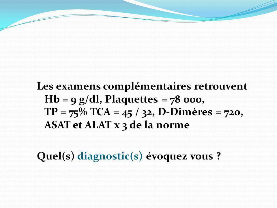 Les examens complémentaires retrouvent Hb = 9 g/dl, Plaquettes = 78 000, TP = 75% TCA = 45 / 32, D-Dimères = 720, ASAT et ALAT x 3 de la norme